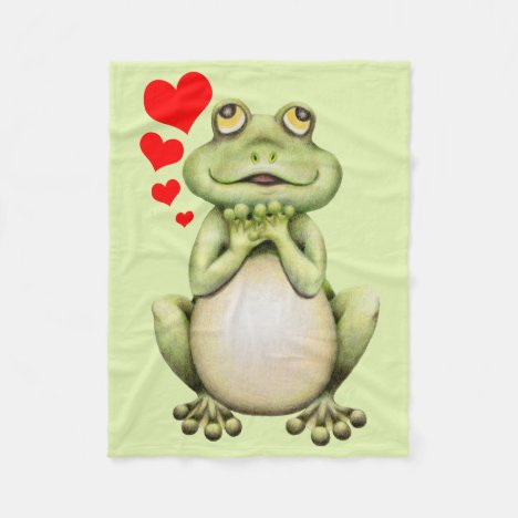 Frog Love Drawing Fleece Blanket