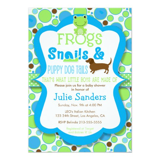 Frogs Snails Puppy Dog Tails Boy Baby Shower Invitation