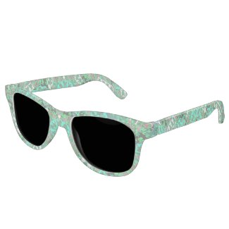 Frosted Green Angel Pattern Art Sunglasses