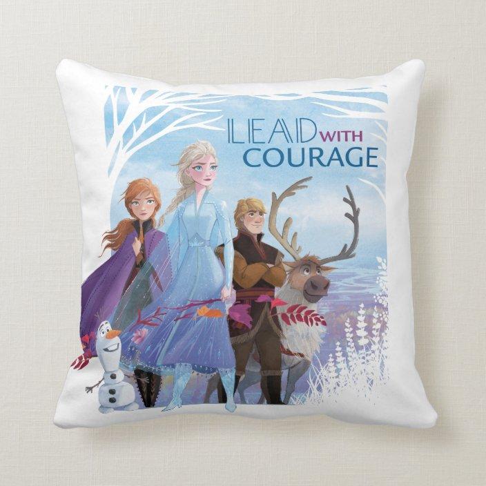 frozen 2 anna elsa friends courage throw pillow zazzle com