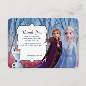 Frozen 2 - Anna, Elsa & Olaf Birthday Thank You Invitation