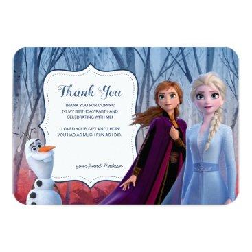 Frozen 2 - Anna, Elsa & Olaf Birthday Thank You Invitation