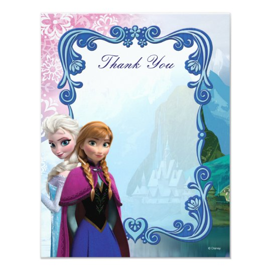 Frozen Anna And Elsa Birthday Thank You Card Zazzle Com
