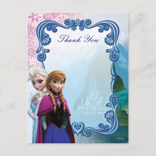 Frozen Anna And Elsa Birthday Thank You Note Card Zazzle Com