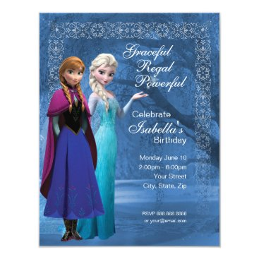 Frozen Anna and Elsa Snowflake Birthday Invitation