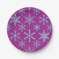 Frozen Snowflakes Holiday Paper Plates