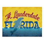 Ft Lauderdale Florida Dolphin Retro Vintage Travel Postcard
