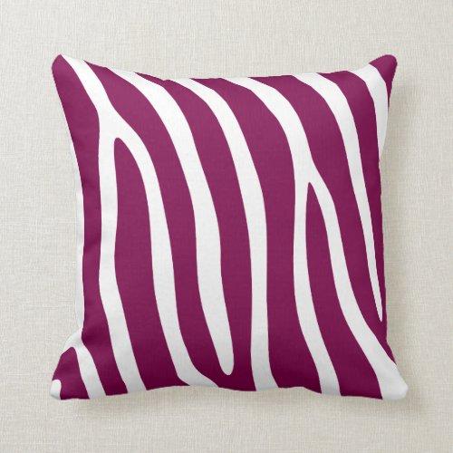 Fuchsia Pink Zebra Stripes Throw Pillow