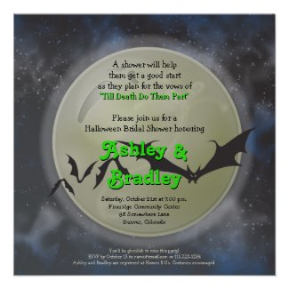 Full Moon Bats Halloween Bridal Shower Invitation