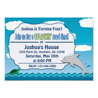 Fun at Sea Dolphin & Turtle Birthday Invitation