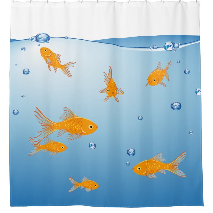 fun blue orange goldfish bathroom shower curtain zazzle com