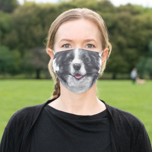 Fun Border Collie Face Personalized Adult Cloth Face Mask