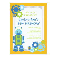 Fun Boy Robot Birthday Party Invitation
