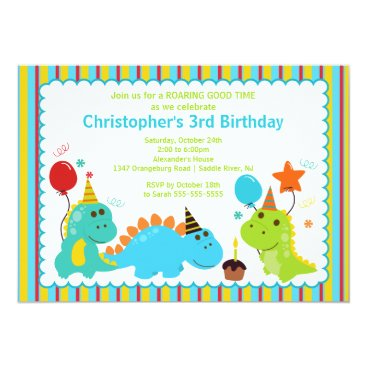 Fun Dinosaurs Birthday Party Invitation