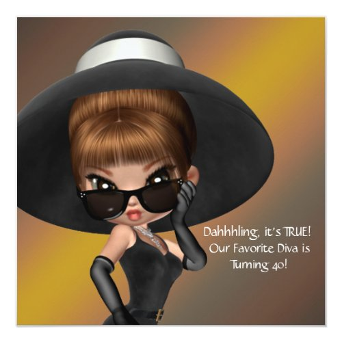 Fun Favorite Diva Womans Black 40th Birthday Party Card