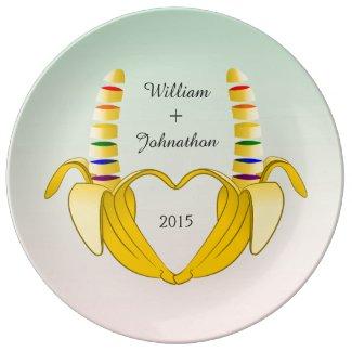Fun Gay Banana Heart Wedding Favor Porcelain Plates