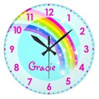 Fun kids girls rainbow name aqua pink wall clock   Zazzle.com