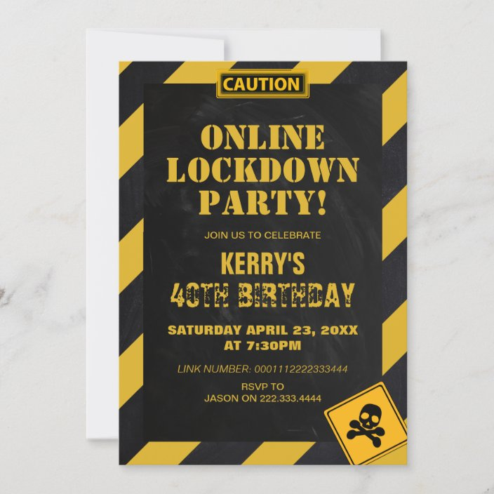 fun lockdown quarantine birthday party invitation zazzle com