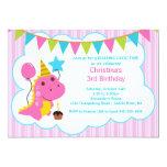 Fun Pink Dinosaur Birthday Party Invitation