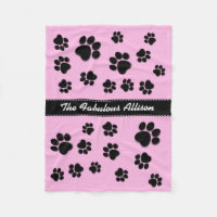Fun Playful Paw Prints for Dog Lover A06A PINK Fleece Blanket