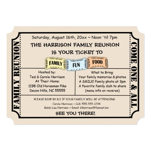 Fun Ticket Cut Family Reunion Invitation