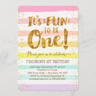 pastel 1st birthday invitations zazzle