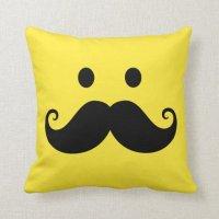 Fun yellow smiley face with handlebar mustache pillow | Zazzle