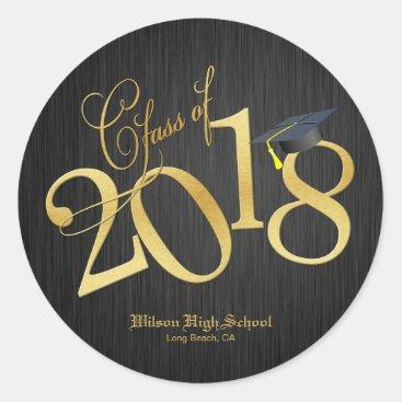 Funky Black & Gold Class of 2018 Graduation Classic Round Sticker