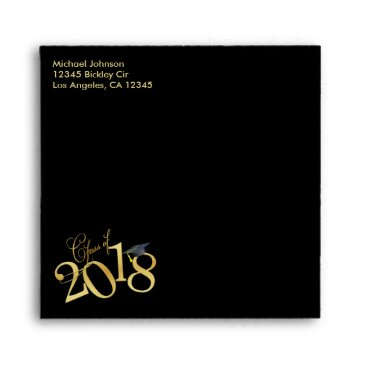 Funky Gold Class of 2018 Graduation Envelope