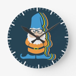 Funky Hipster Garden Gnome Illustration Round Clock