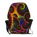 Funky Rainbow Swirl Fractal Art Pattern rickshaw_messengerbag