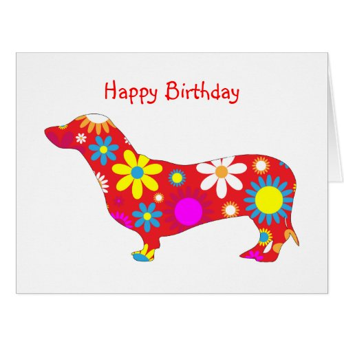 Funky retro floral dachshund dog birthday card
