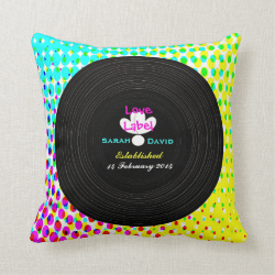 Funky Retro Vinyl Record Theme Wedding Gift Throw Pillows