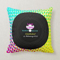 Funky Retro Vinyl Record Theme Wedding Gift Throw Pillows