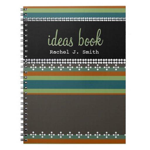 Funky Stripes Custom Name Ideas Book Notebook