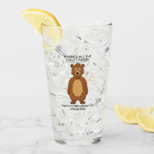 Funny Bear out of Hibernation Cartoon Glass