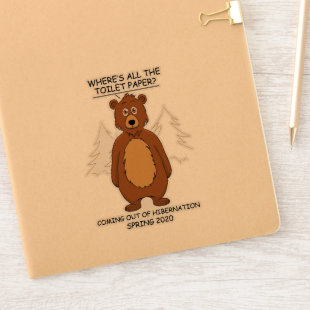 Funny Bear out of Hibernation Cartoon Sticker