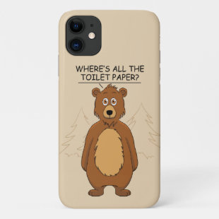 Funny Bear Out of Toilet Paper iPhone 11 Case