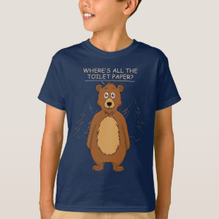 Funny Bear Out of Toilet Paper Dark T-Shirt
