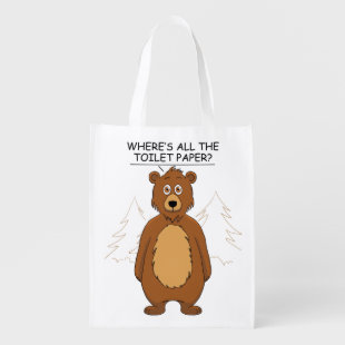Funny Bear out of Toilet Paper Grocery Bag