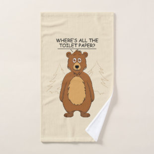 Funny Bear out of Toilet Paper Hand Towel