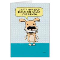 Funny Belated Birthday Dog Card