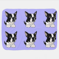 Funny Boston Terrier Puppy Dog Art Swaddle Blanket