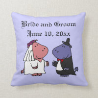 Funny Bride and Groom Hippo Wedding Cartoon Throw Pillow
