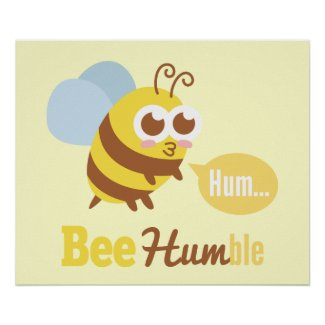 Funny Cartoon: Kawaii Yellow & Brown Bee Humming Print