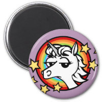 FUNNY CARTOON UNICORN ROUND MAGNET