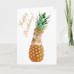 Funny Cat Birthday Card - Cute Cat In A Pineapple