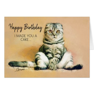 Funny Cat Cake Happy Birthday Greeting Card