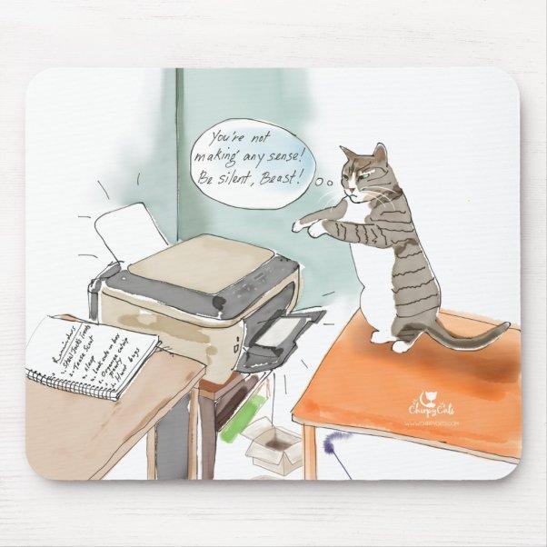 Funny cat cartoon mouse pad