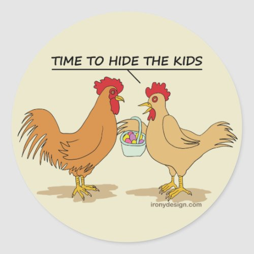 Funny Chicken Easter Egg Hunt Cartoon Classic Round Sticker